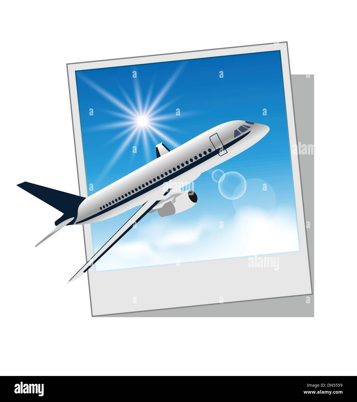 Photo frame with plane isolated on white background Stock Vector Art ...
