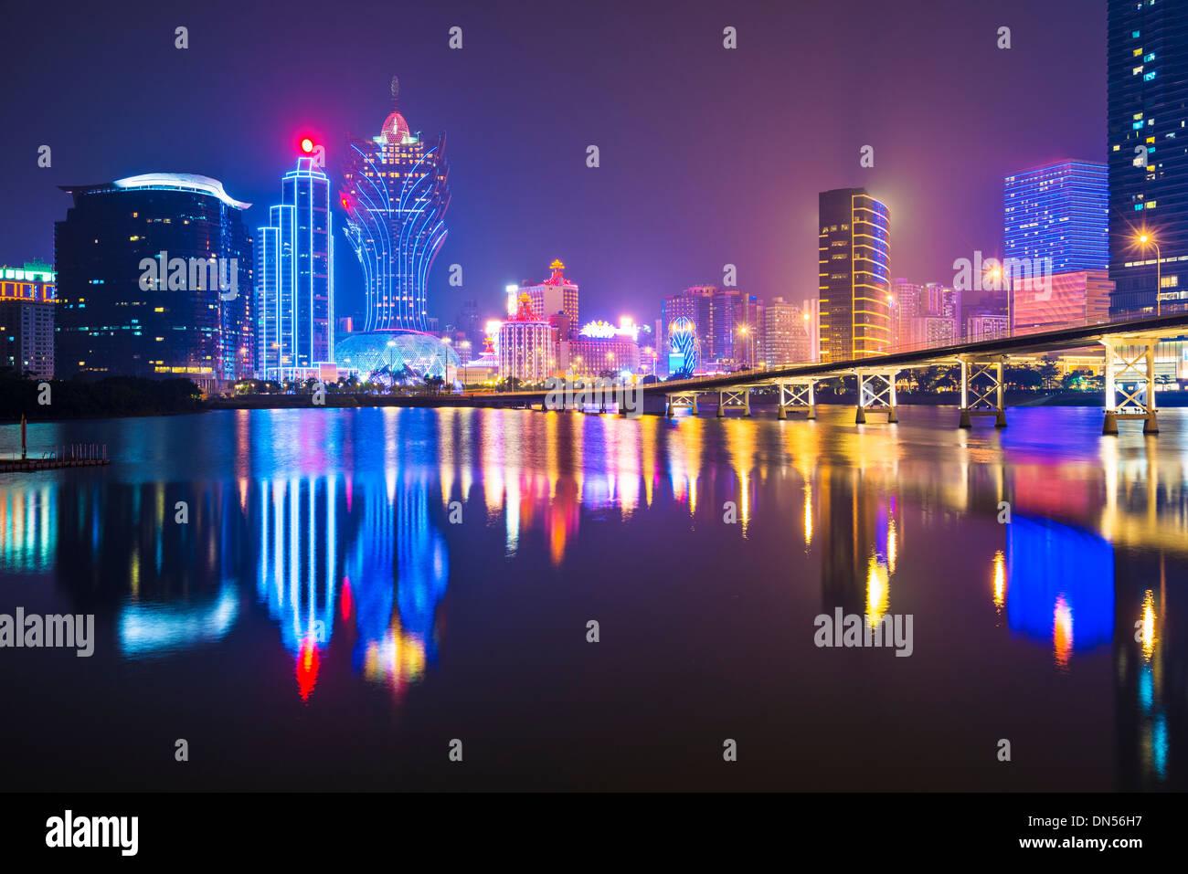 Macau, China skyline at the high rise casino resorts. - Stock Image