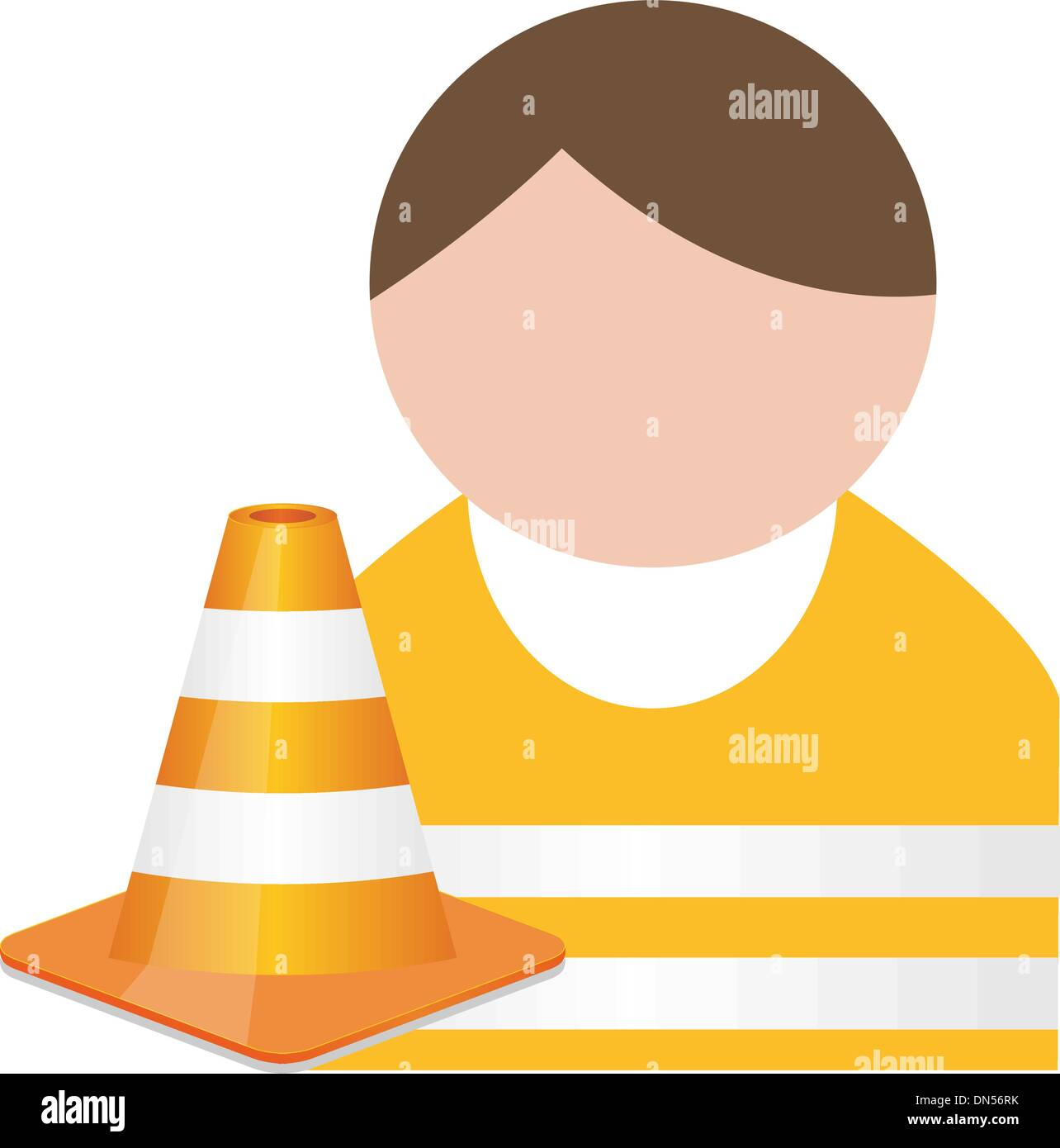 Buddy in orange  safety vest with traffic cone - Stock Vector