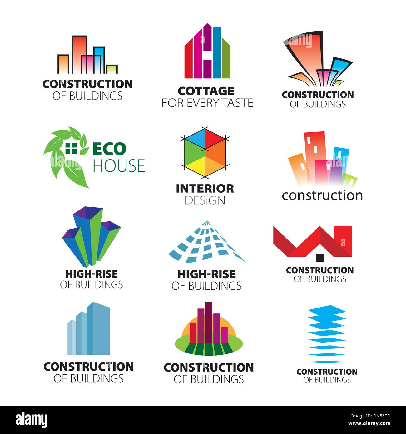 collection of vector logos construction and home improvement Stock ...