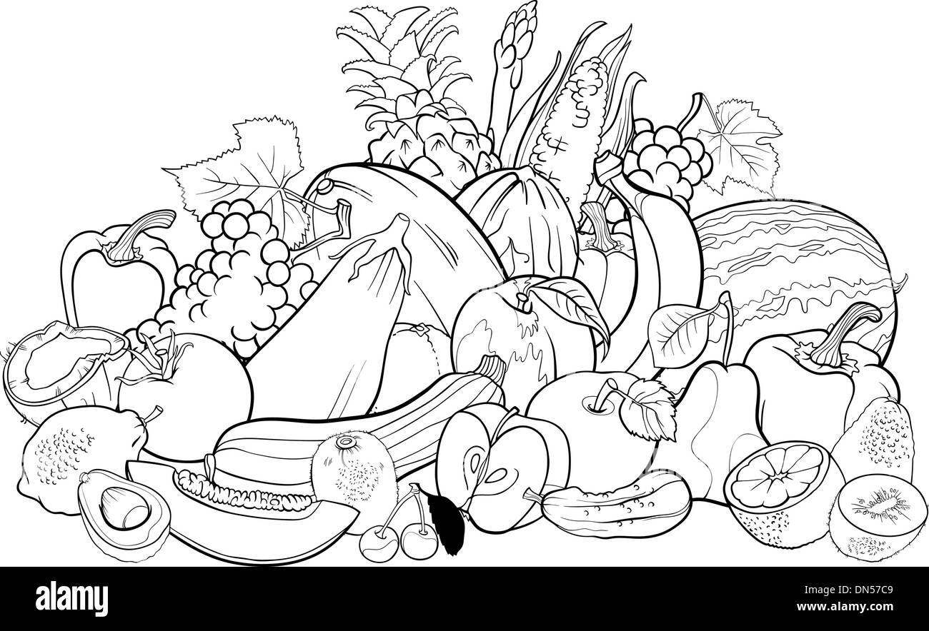 - Fruits And Vegetables For Coloring Book Stock Vector Image & Art