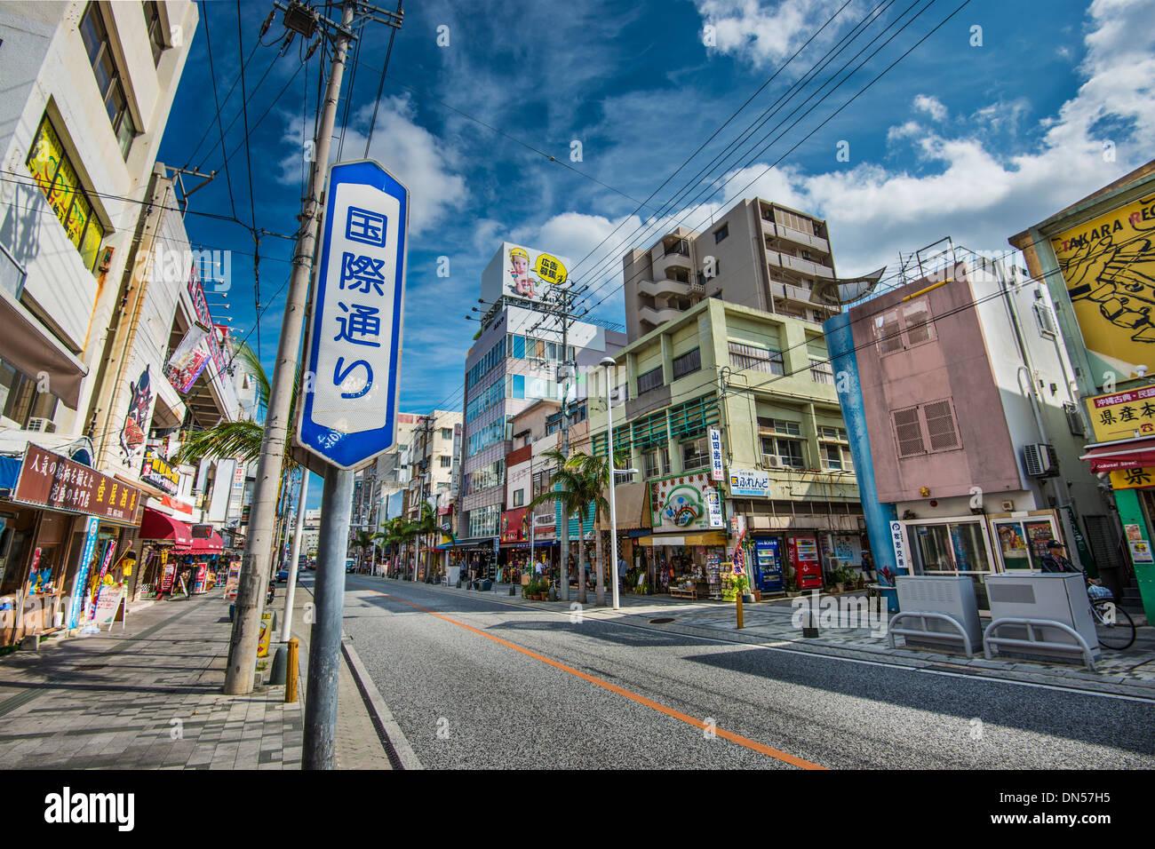 Naha, Japan at International Street. - Stock Image
