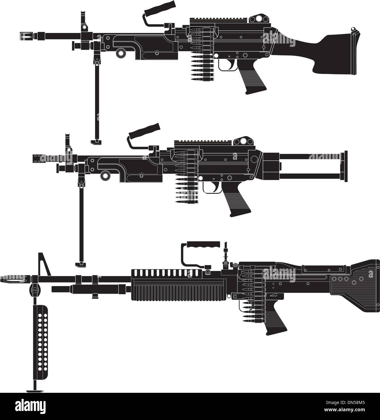 Machine Gun - Stock Vector