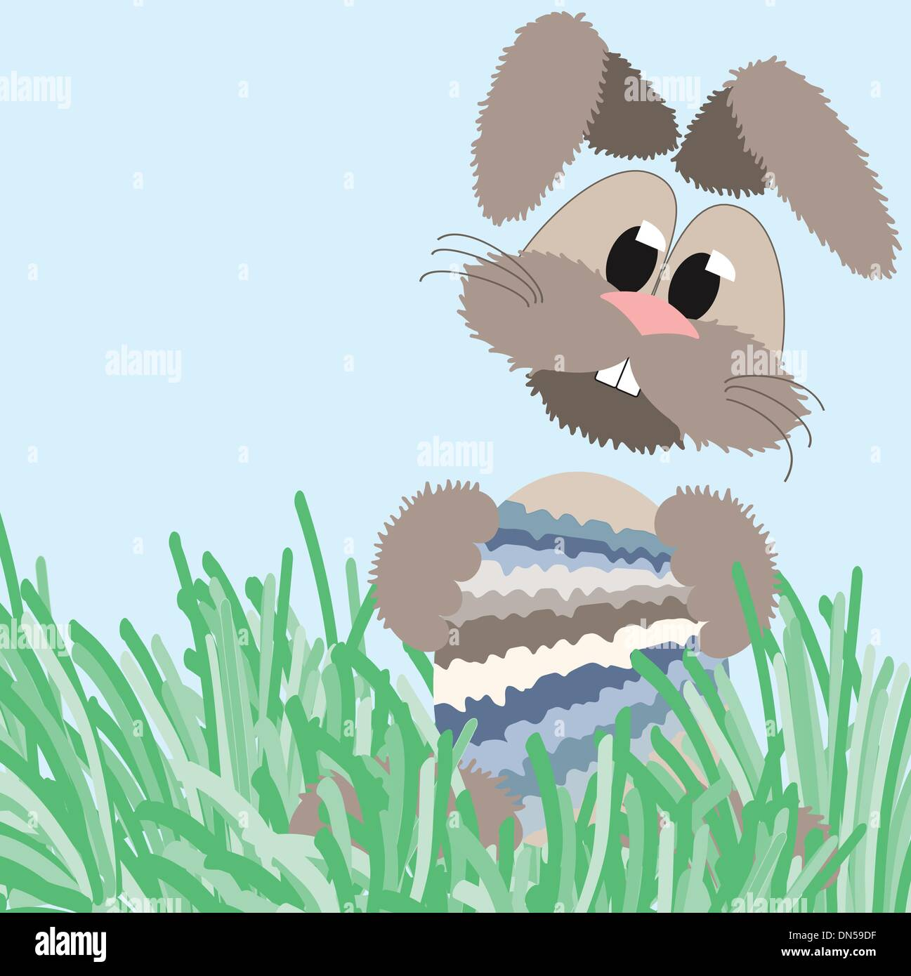 happy fluffy pastel easter bunny - Stock Vector