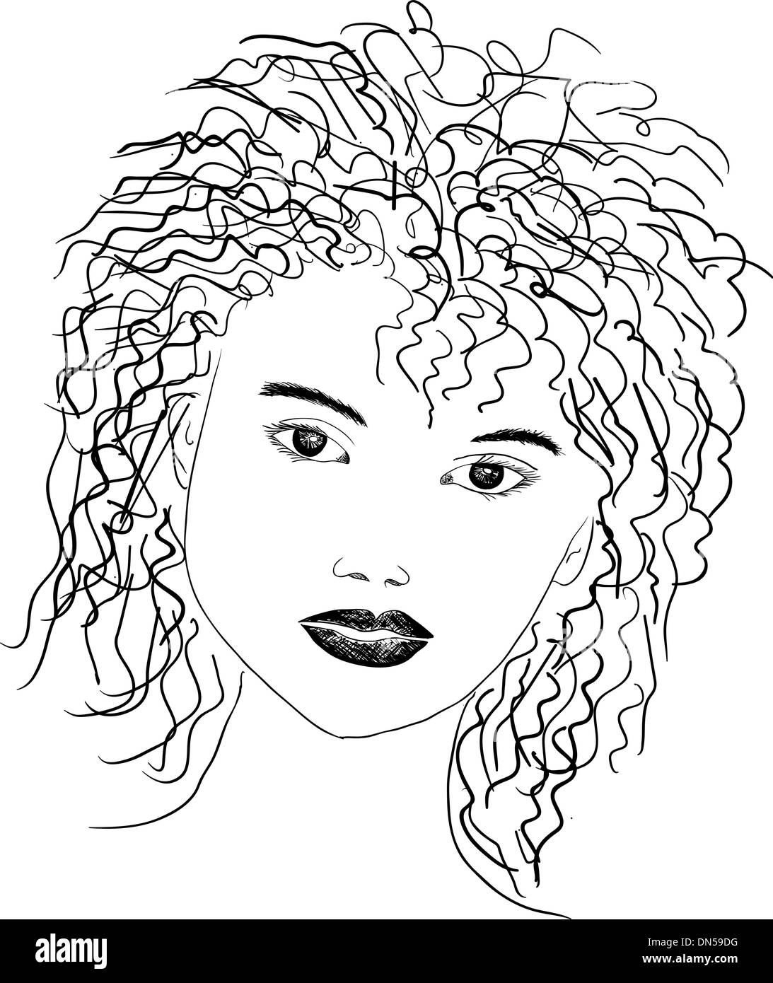 line drawing portrait - Stock Image