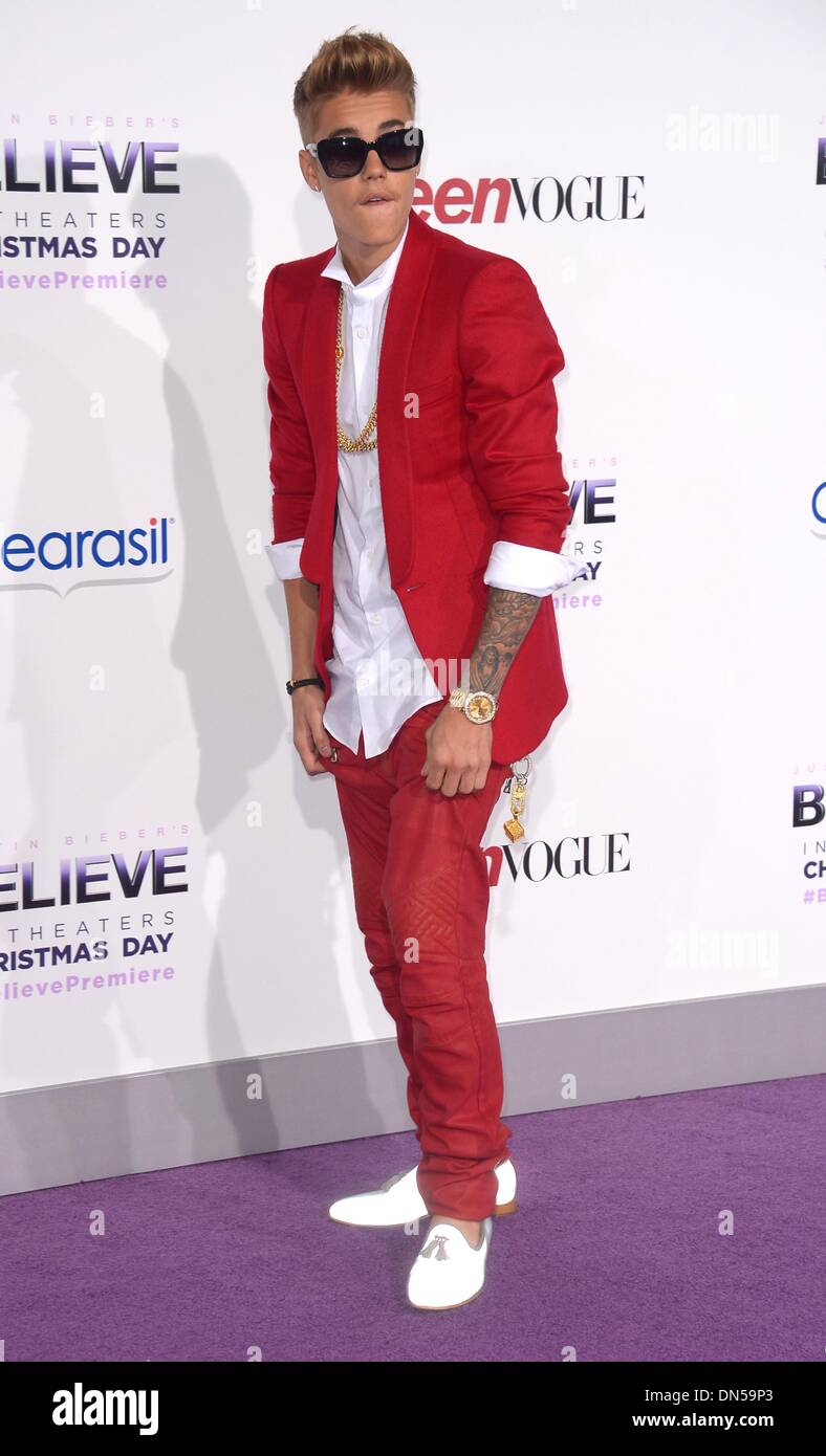 Los Angeles, California, USA. 18th December 2013. Justin Bieber arrives at the premiere for 'Believe' in Los Angeles, Stock Photo