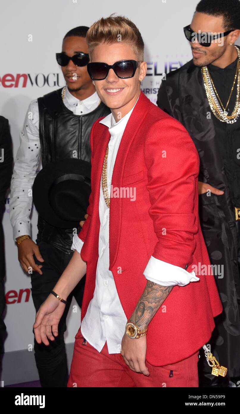 Los Angeles, California, USA. 18th December 2013. Justin Bieber arrives at the premiere for 'Believe' in Los Angeles, CA December 18th 2013 Credit:  Sydney Alford/Alamy Live News - Stock Image