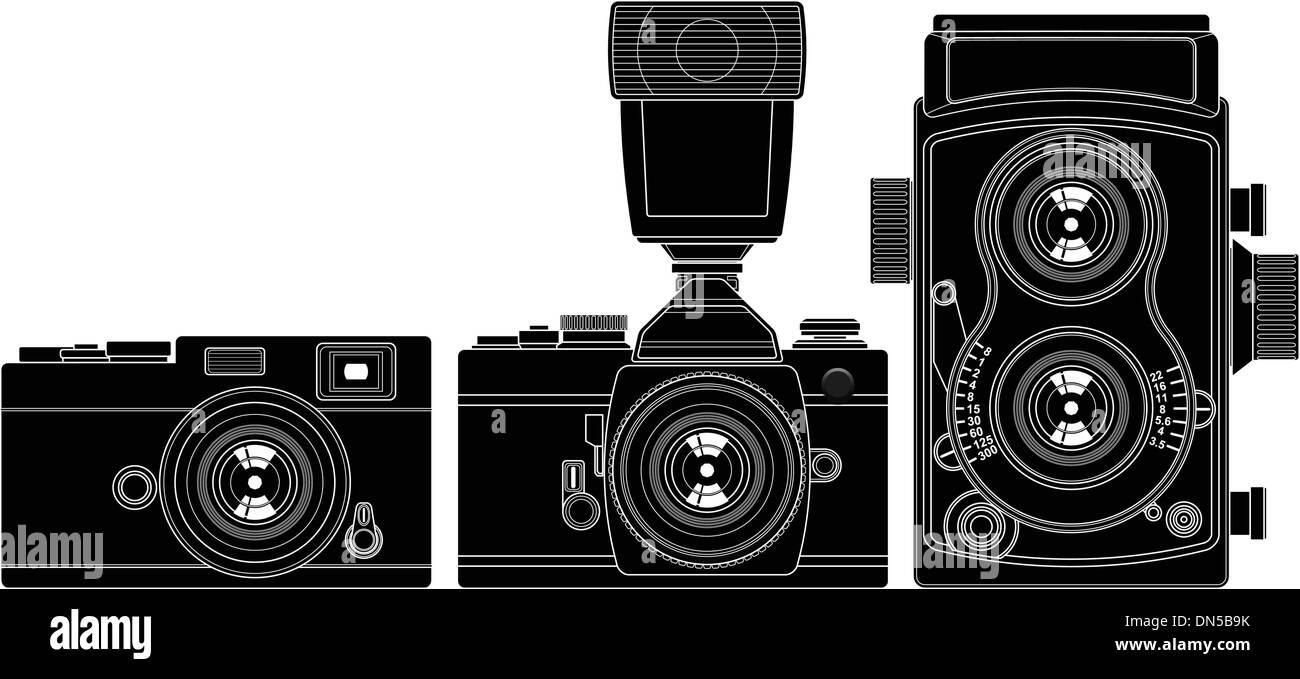 Old Cameras - Stock Vector
