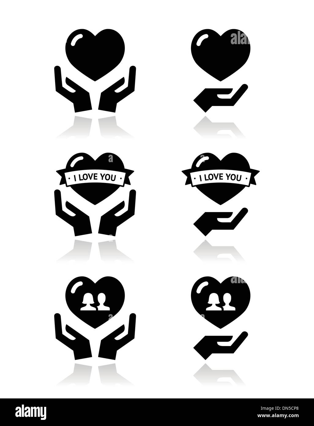 Hands with heart, love, relationship icons set - Stock Vector