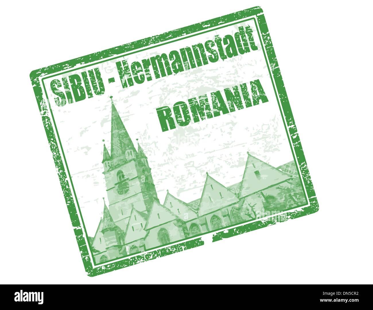 Sibiu - Romania stamp - Stock Image