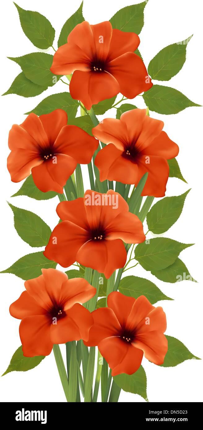 Holiday background with orange beautiful flowers. Vector illustr - Stock Image