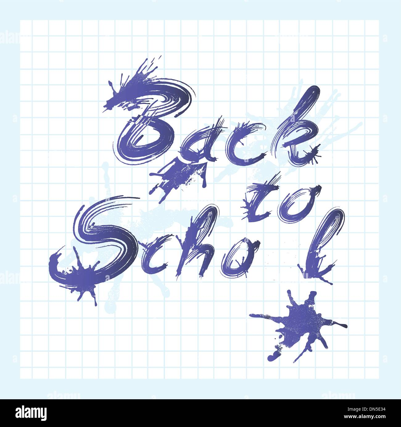 Back to school text with ink stains. - Stock Image