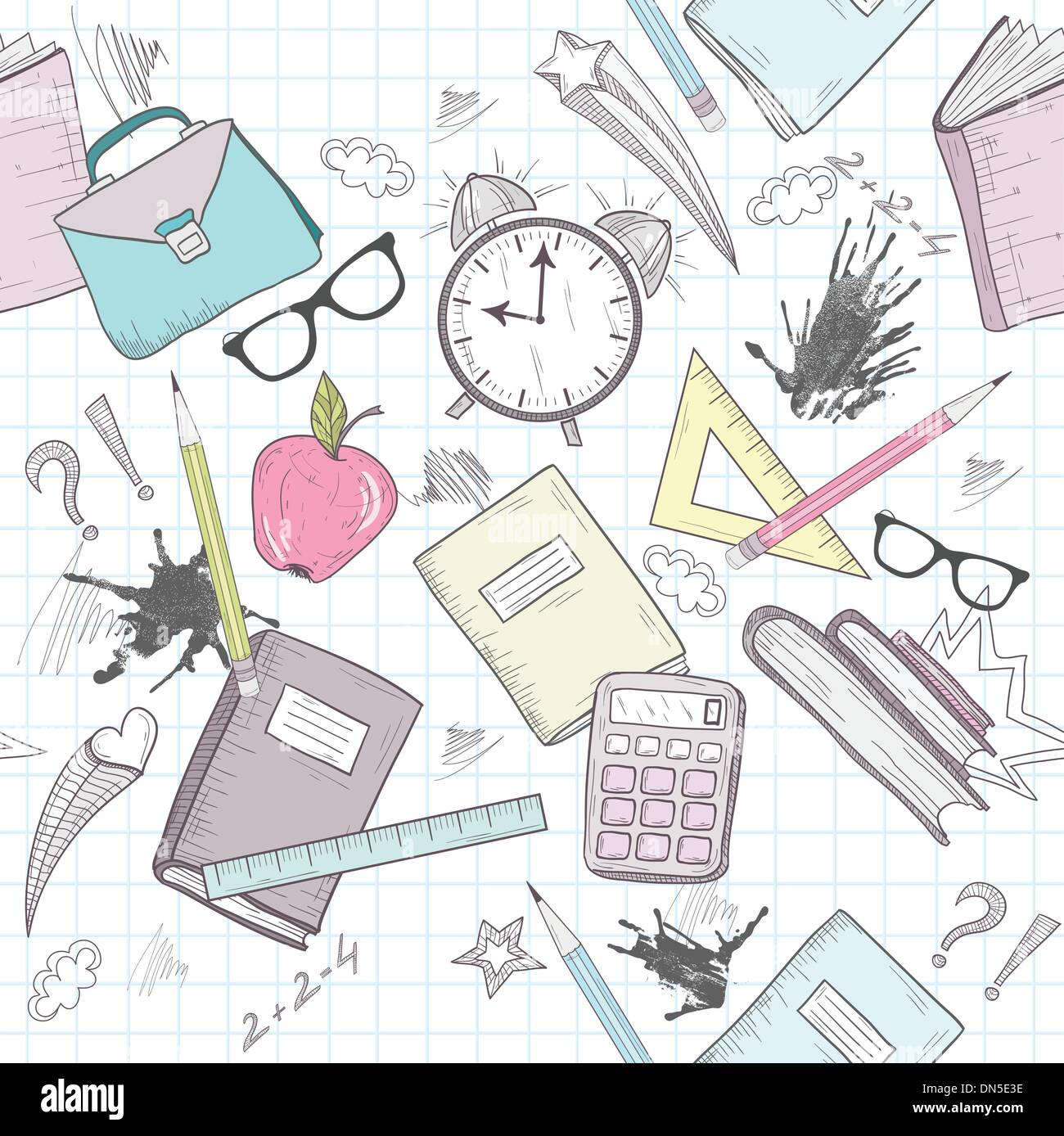 Cute school abstract pattern. Seamless pattern with alarm clock, - Stock Image