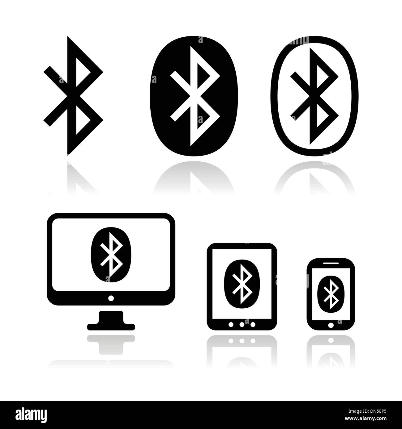 Bluetooth Connection Vector Icons Set Stock Vector Art