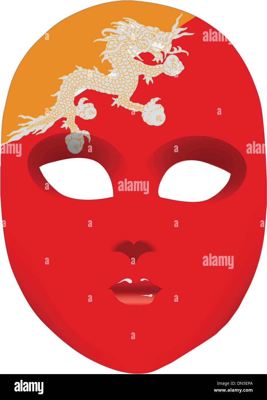 Flag of Bhutan on the mask - Stock Vector