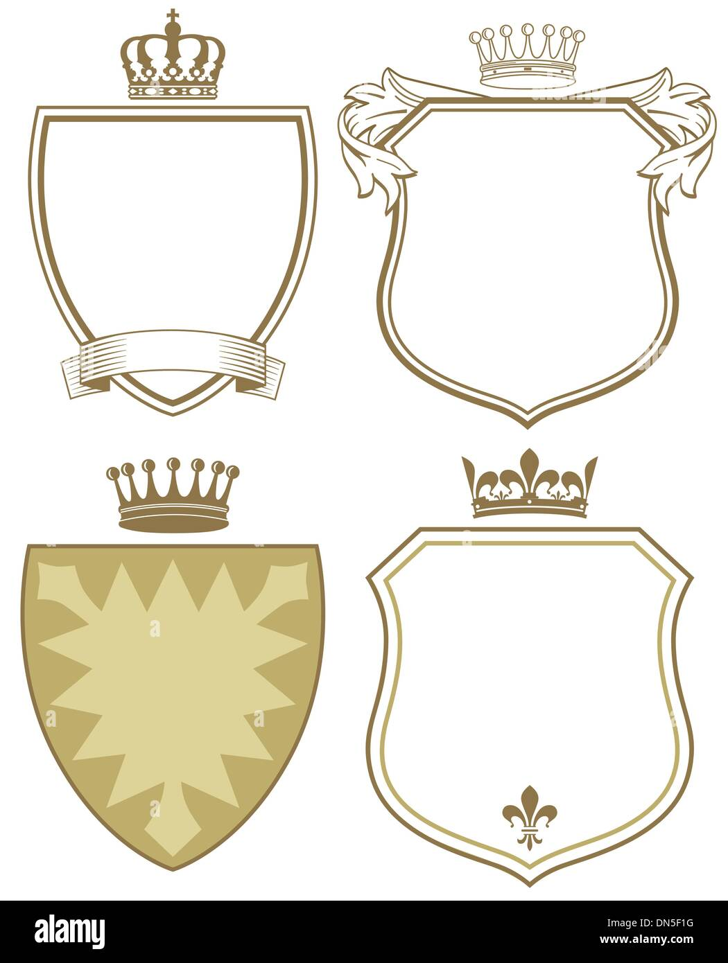 Coat of arms with shield and crown - Stock Vector