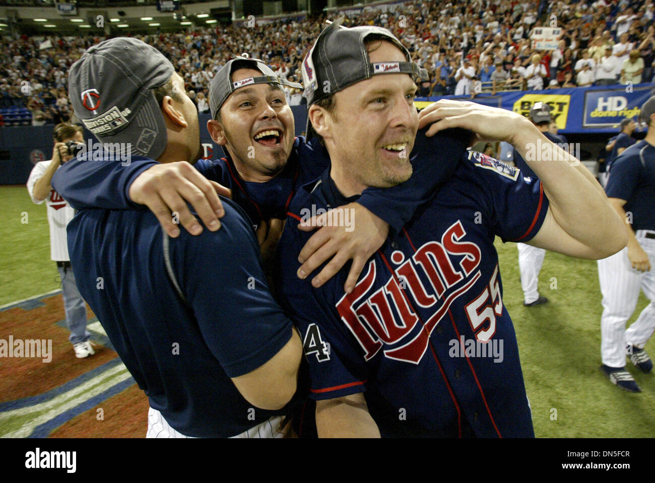 Oct 01, 2006; Minneapolis, MN, USA; The Minesota Twins celebrate winning their division after Detroit's loss to Kansas City duirng the conclusion of their game against the Chicago White Sox at the Metordome in Minneapolis, Minnesota, Sunday, October 1, 2006. The Twins defeated the White Sox 5-1.  Mandatory Credit: Photo by Marlin Levison/Minneapolis Star T/ZUMA Press. (©) Copyright Stock Photo
