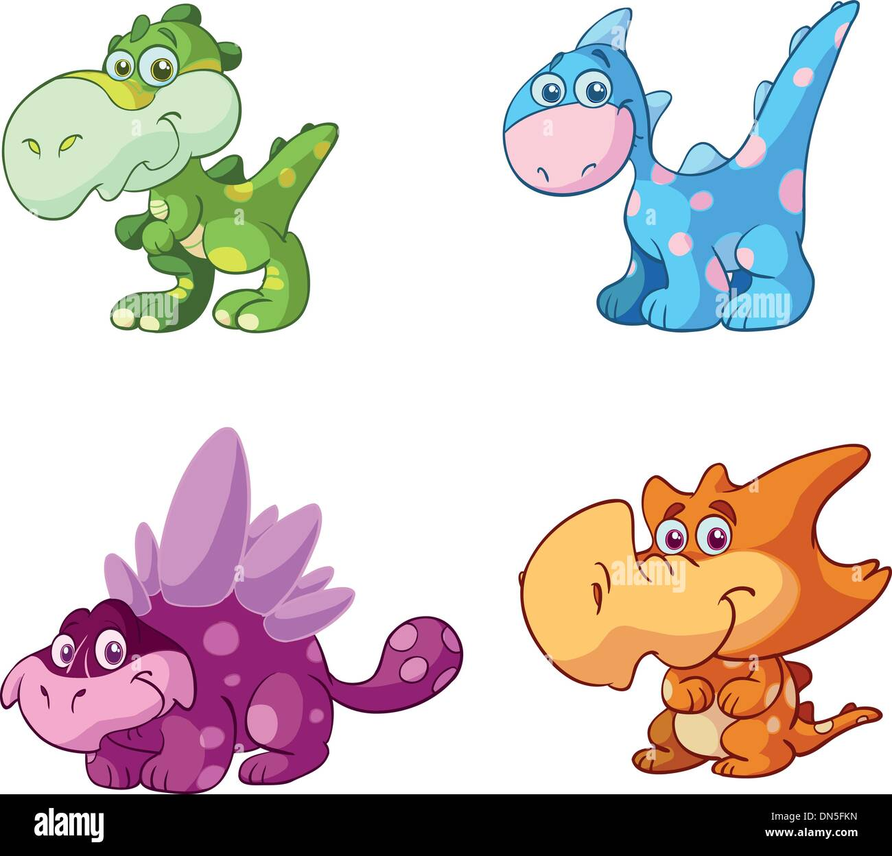 cute baby dino vector set - Stock Image