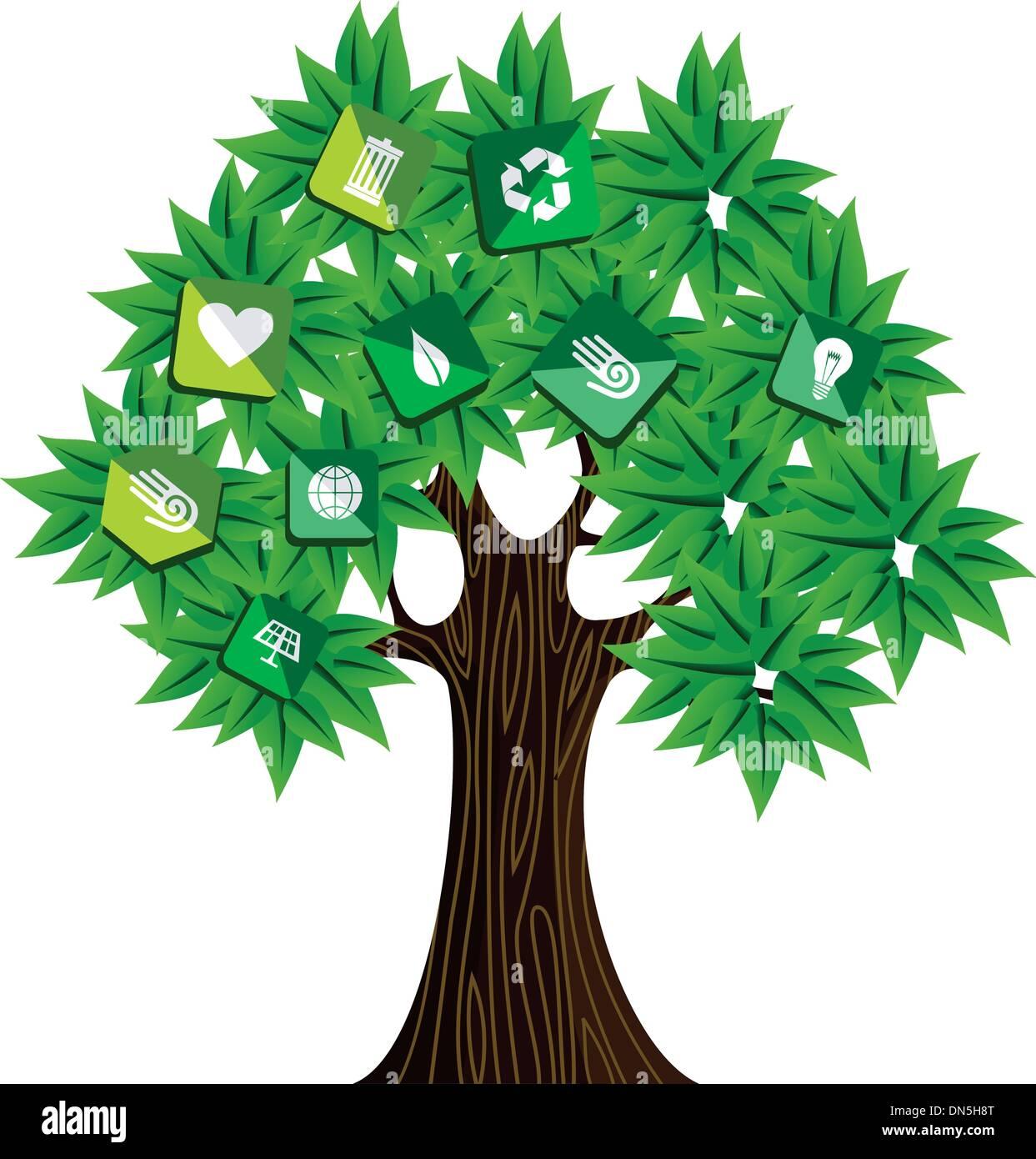 Green resources concept tree Stock Vector Art & Illustration