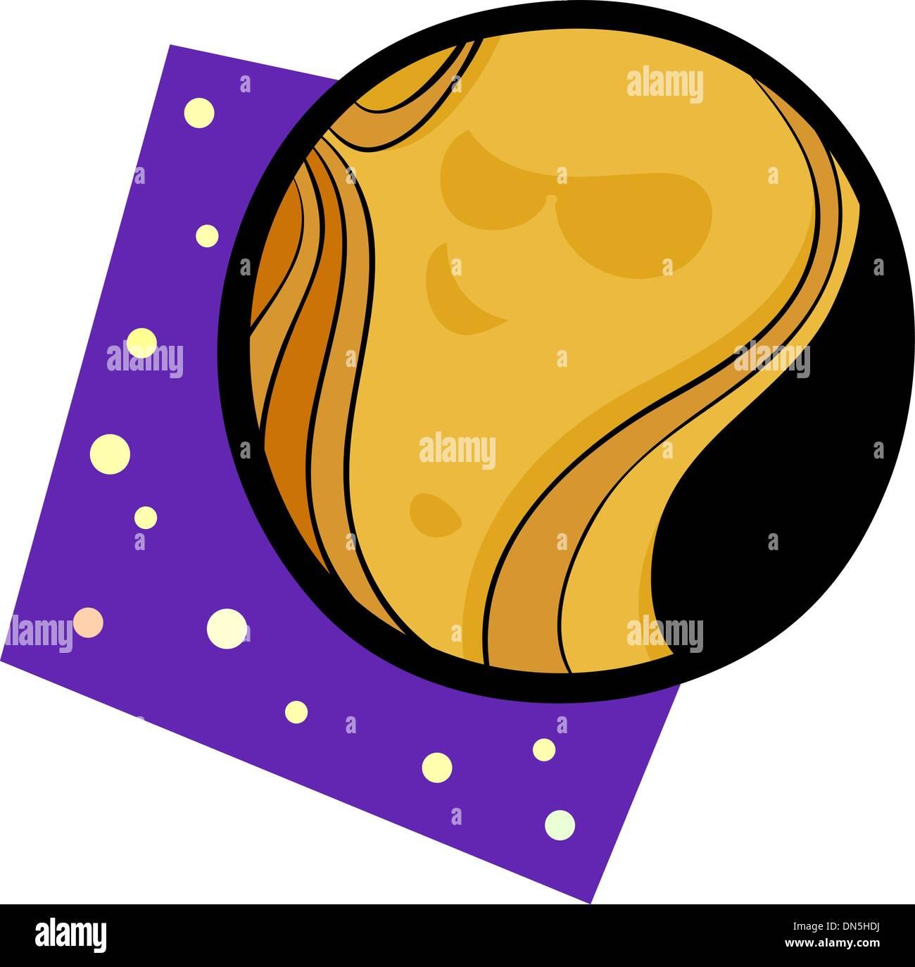 funny venus planet cartoon illustration - Stock Image