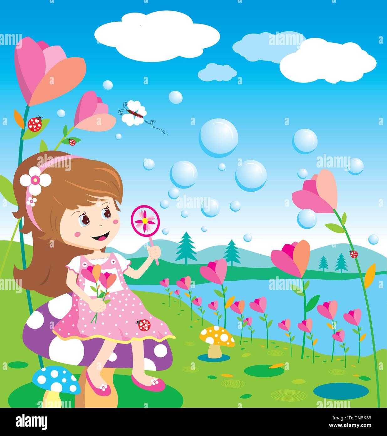 Girl blowing bubbles in the flowers garden - Stock Vector