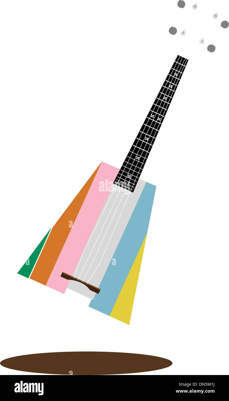 A Beautiful Ukulele Guitar on Dark Brown Background - Stock Vector