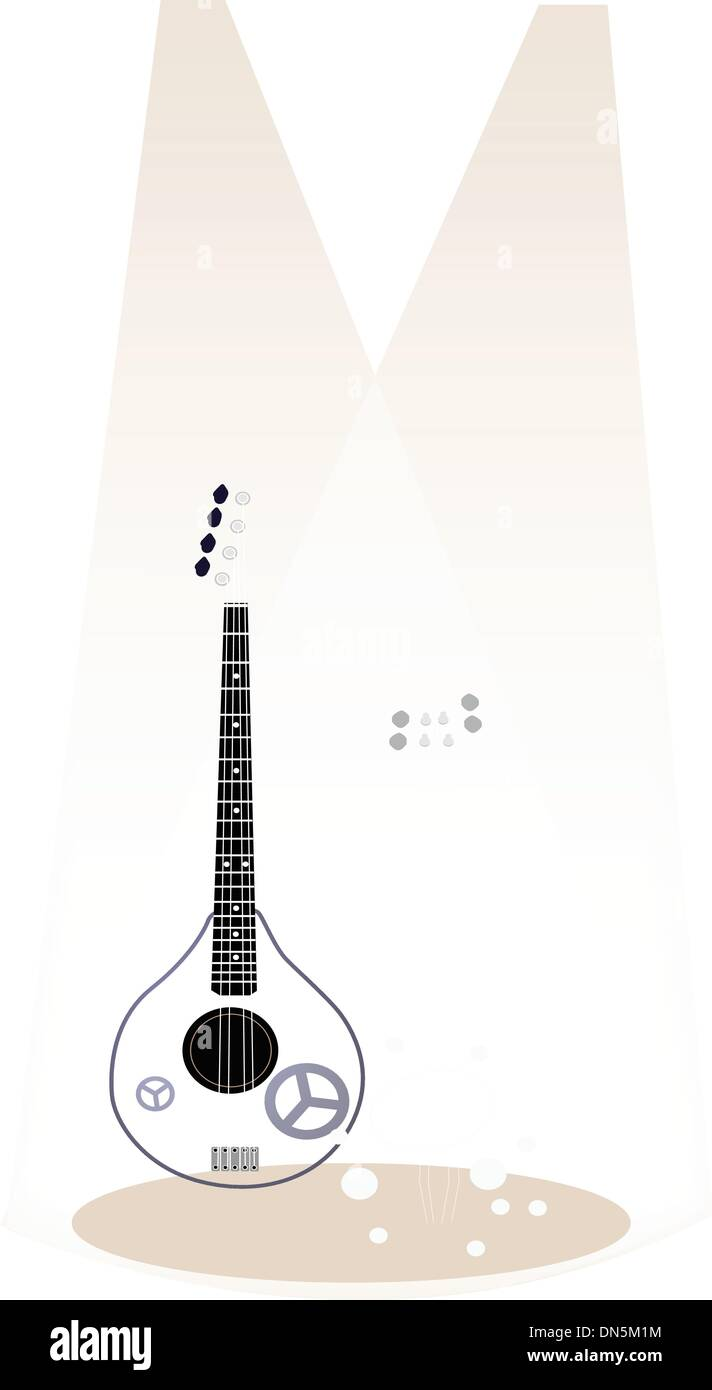 Two Beautiful Ukulele Guitar on Brown Stage Background - Stock Vector