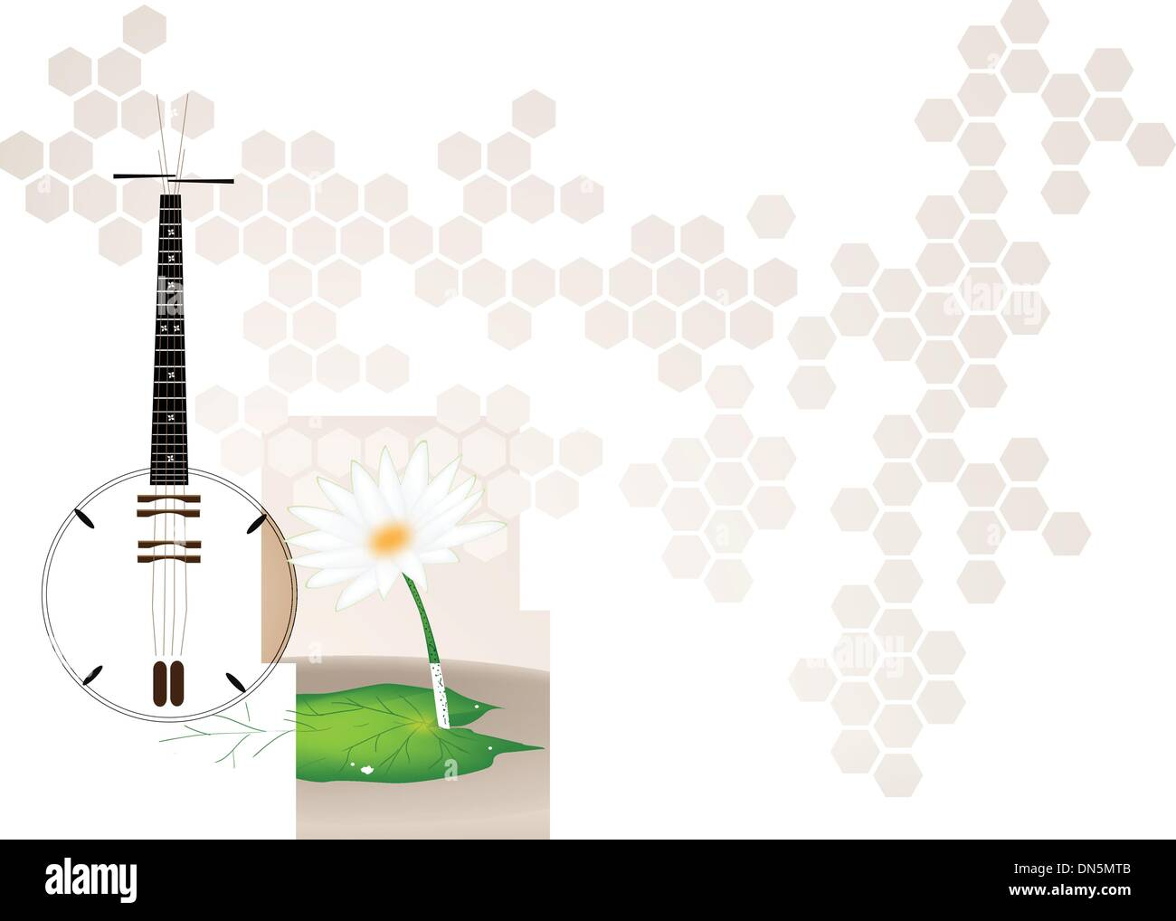 A Musical Brown Dan Nguyet on Brown Stage Background - Stock Image