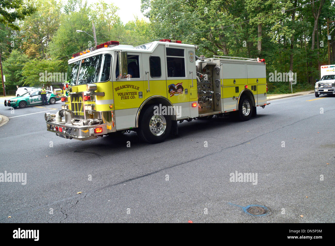 A Fire truck from the Branchville Volunteer Fire Department on a call - Stock Image