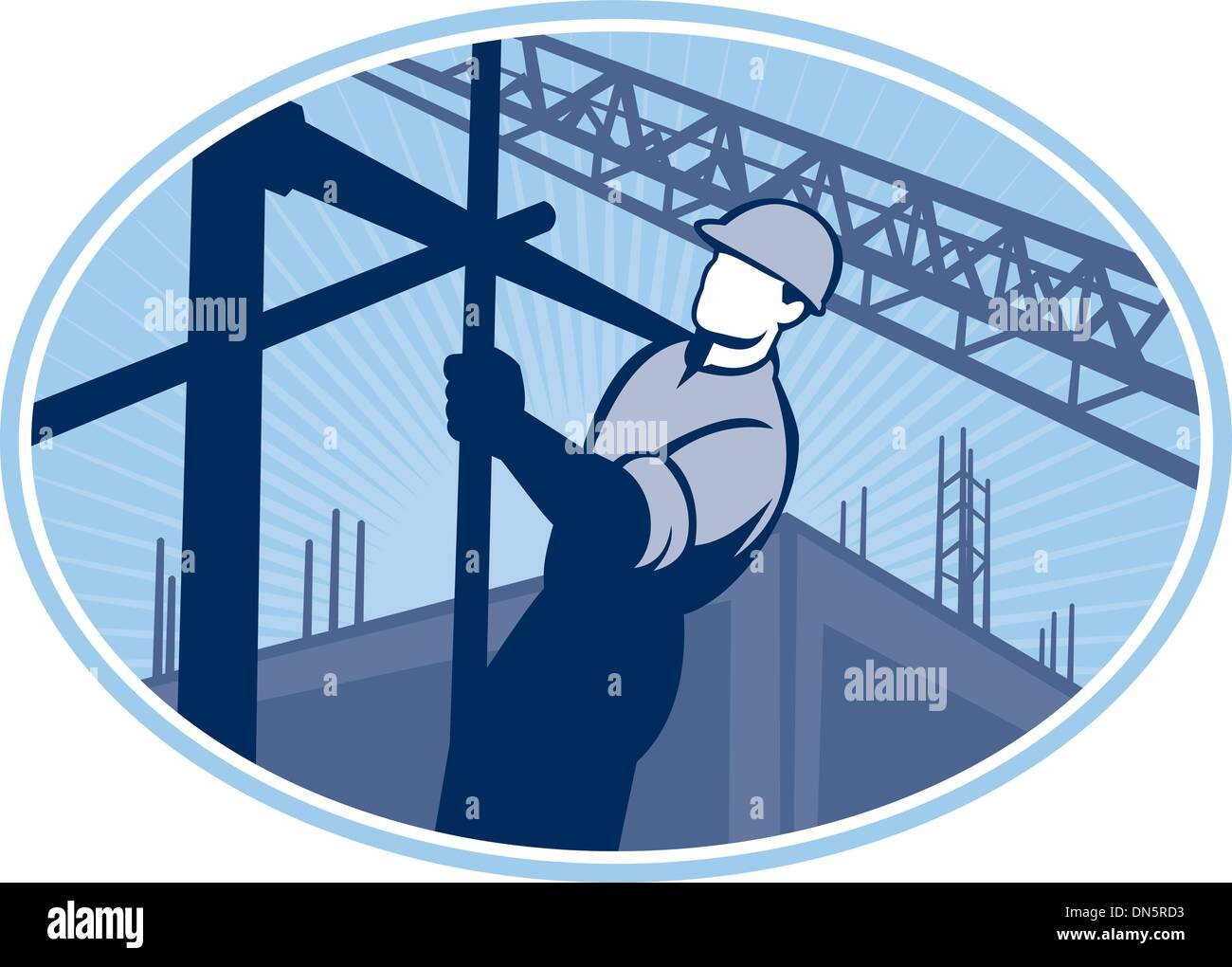 Construction Worker Scaffolding Retro - Stock Vector
