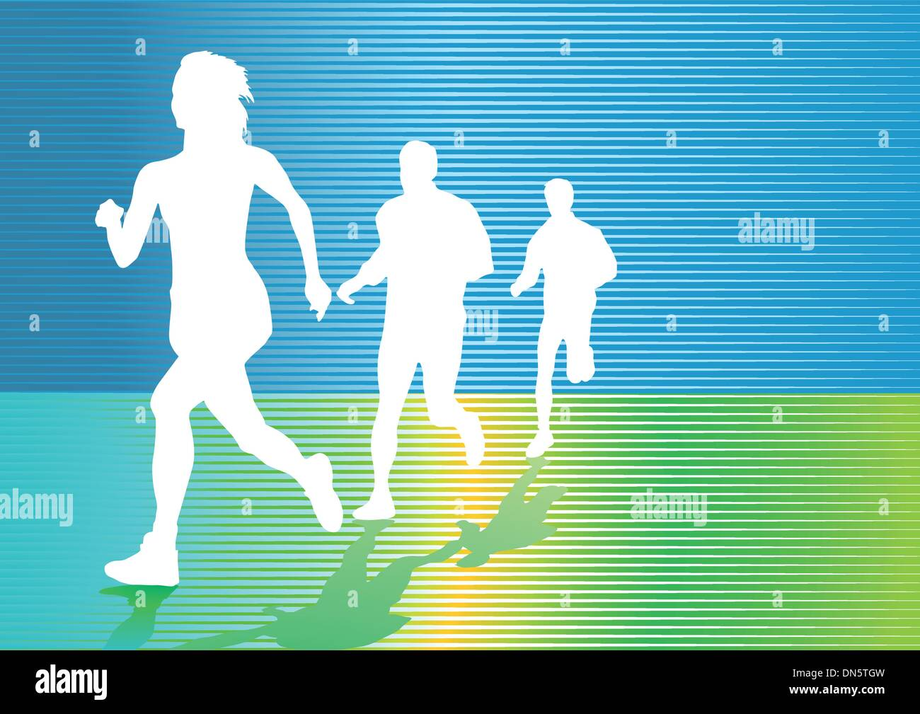 Continuous run and jogging - Stock Image