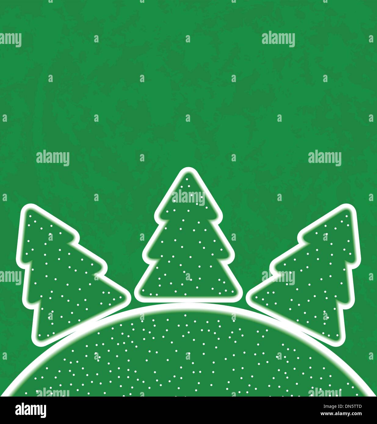 Green paper cut-out set christmas tree - Stock Image