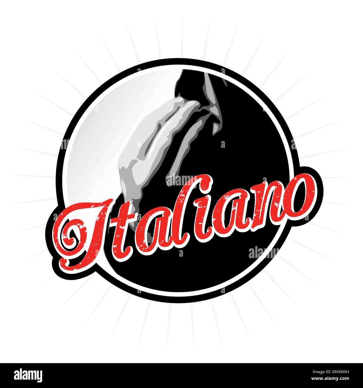 Speak Italiano Badge - Stock Vector