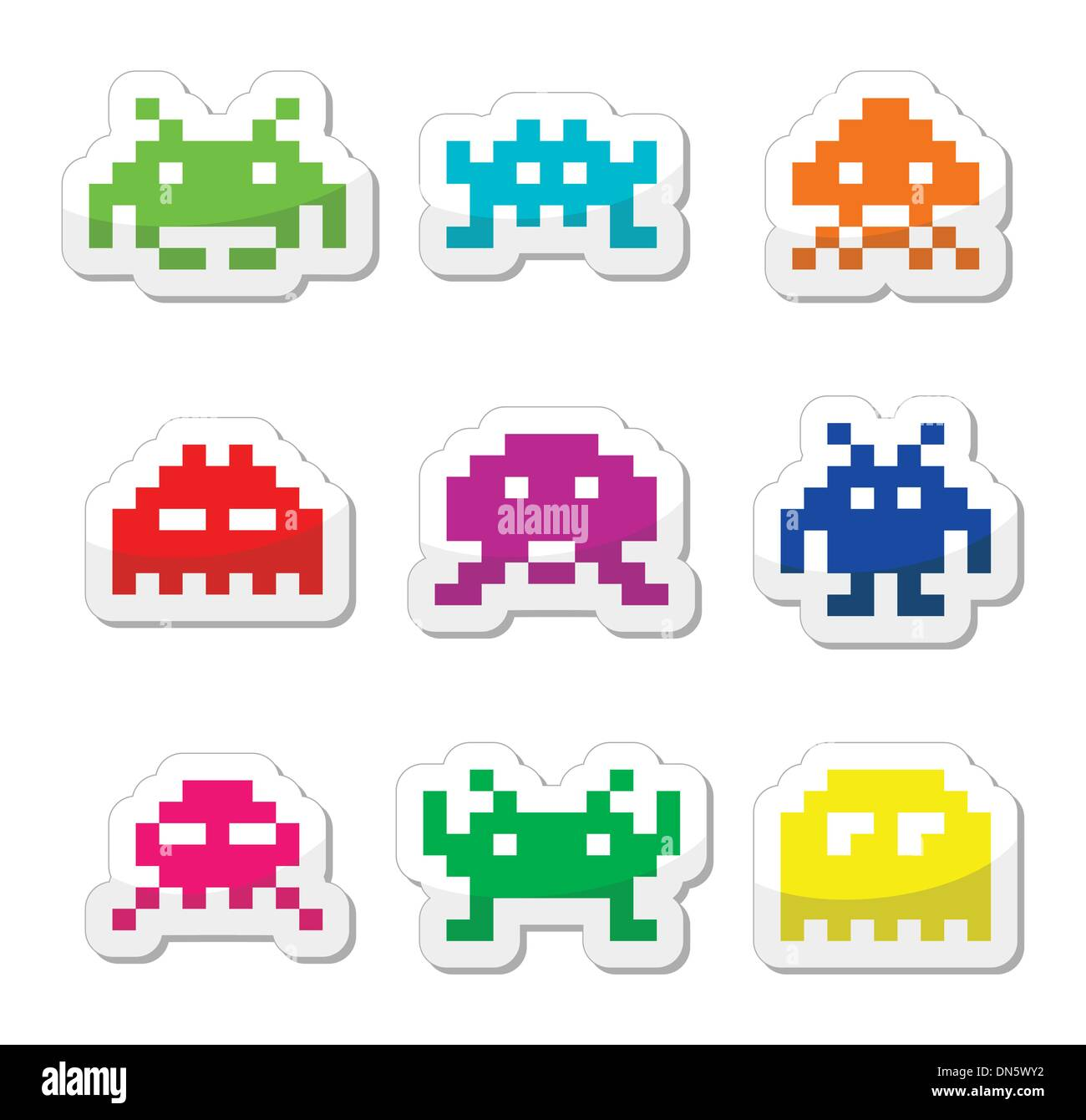 Space invaders, 8bit aliens icons set - Stock Image