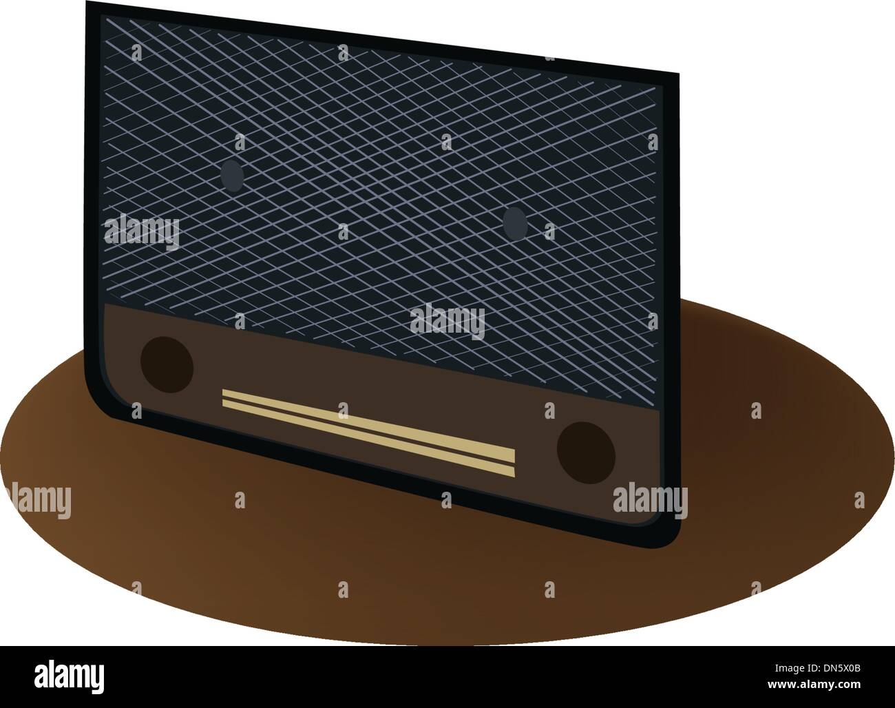 A Beautiful Old Radio on Dark Brown Background - Stock Vector
