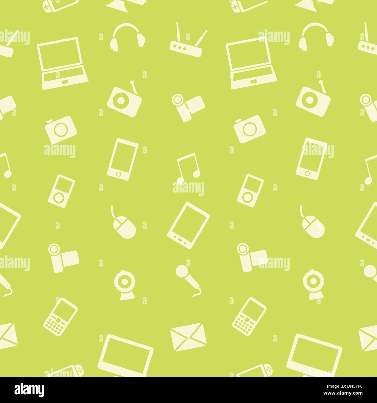 Vector electronics gadget seamless pattern. - Stock Image