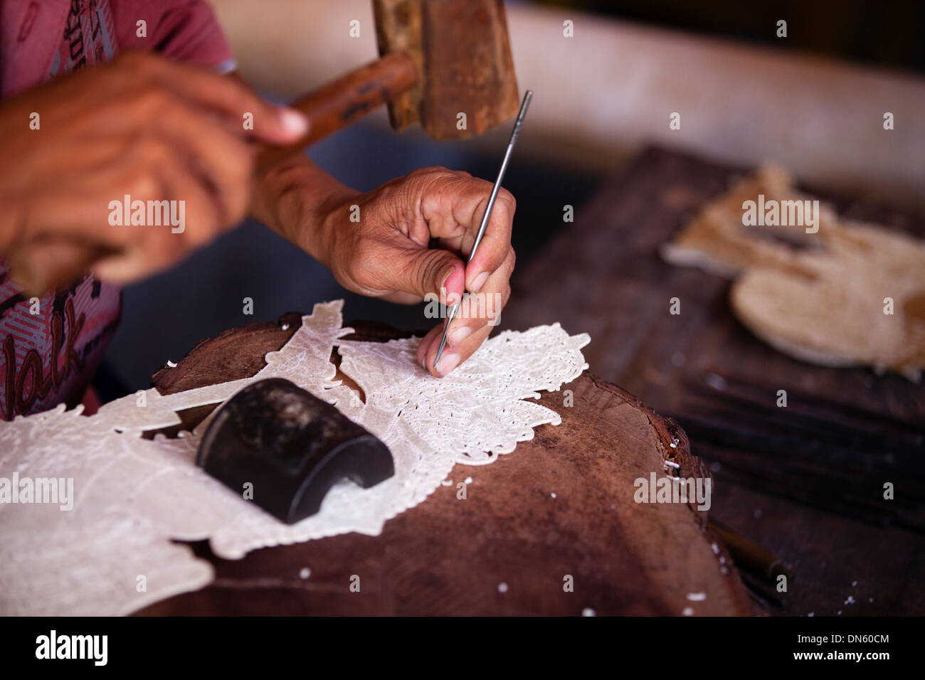 Artist at work, Ubud, Bali, Indonesia - Stock Image