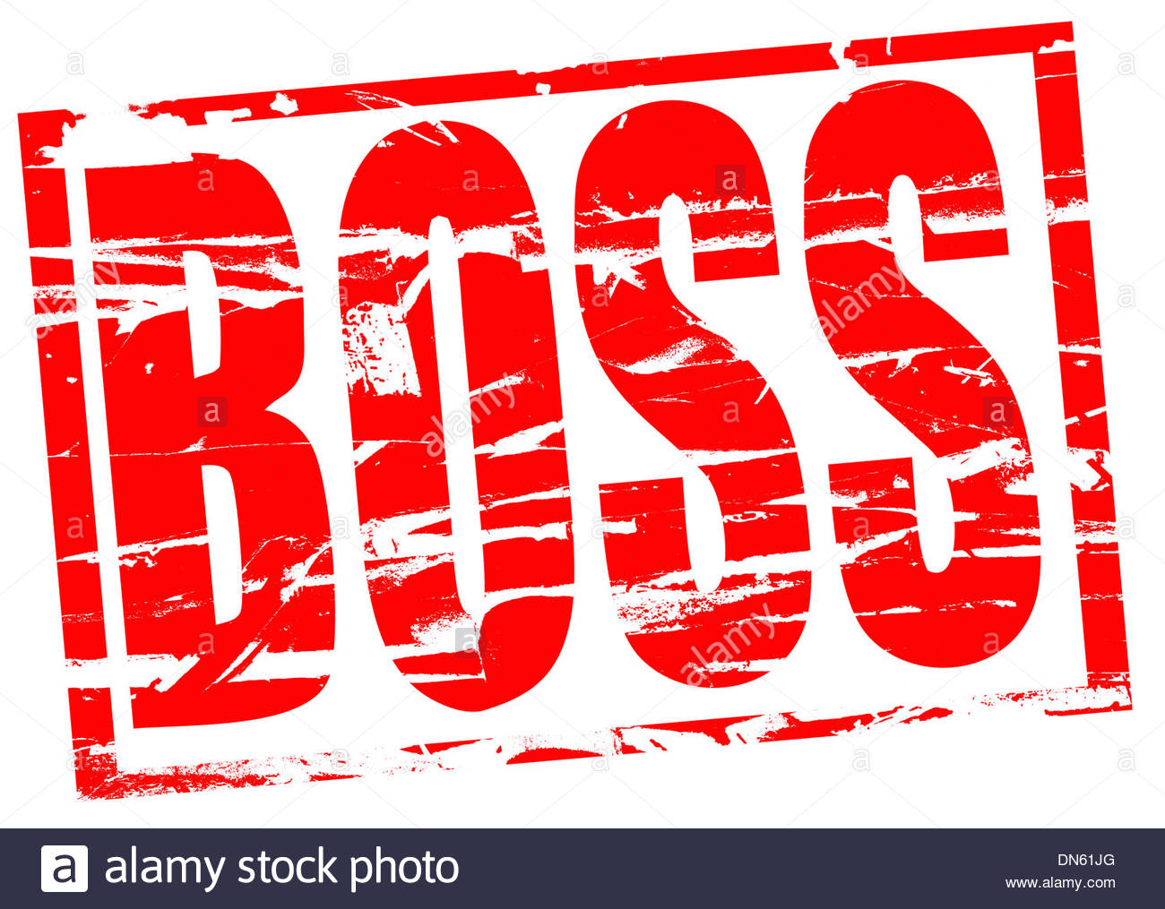 Digital composition Red rubber stamp effect - Boss - Stock Image