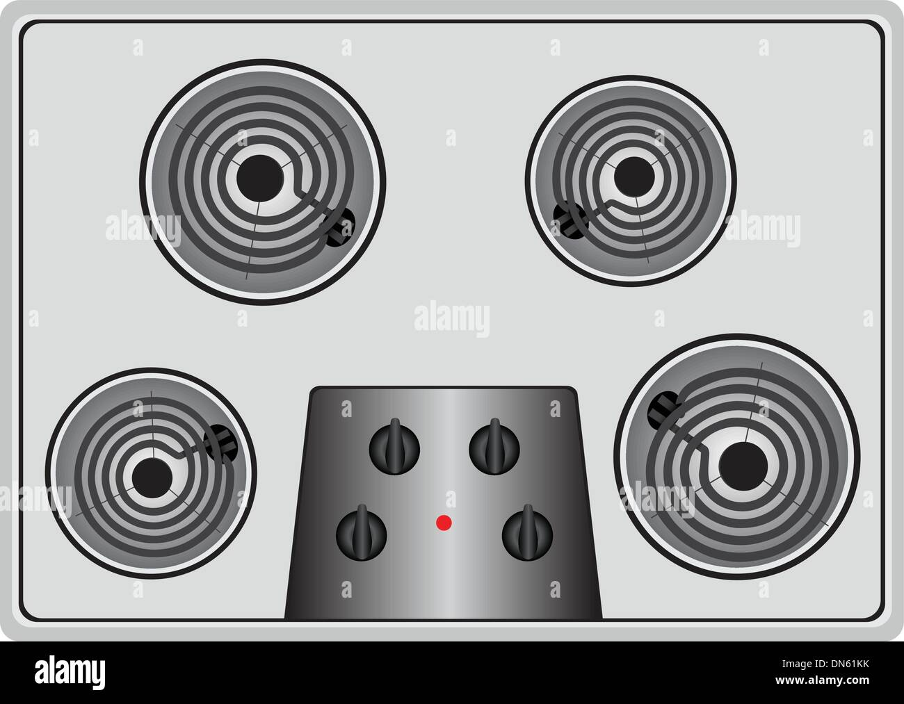Electric stove four element - Stock Vector