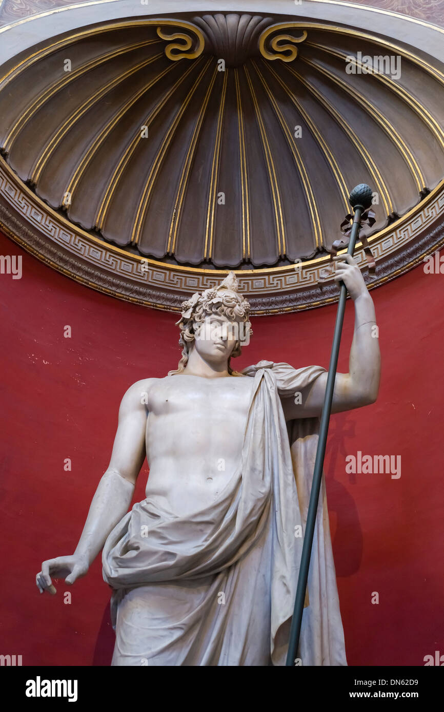 Statue of Antinous as Bacchus, Sala Rotonda, Museo Pio-Clementino, Vatican Museums, Vatican City, Vatican, Rome, Lazio, Italy - Stock Image