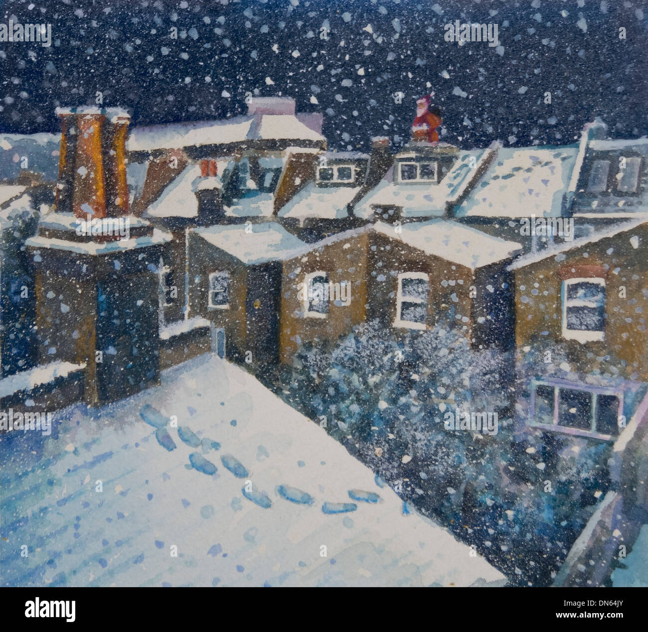 Illustration Of Snowy Rooftop Scene In Fulham London With
