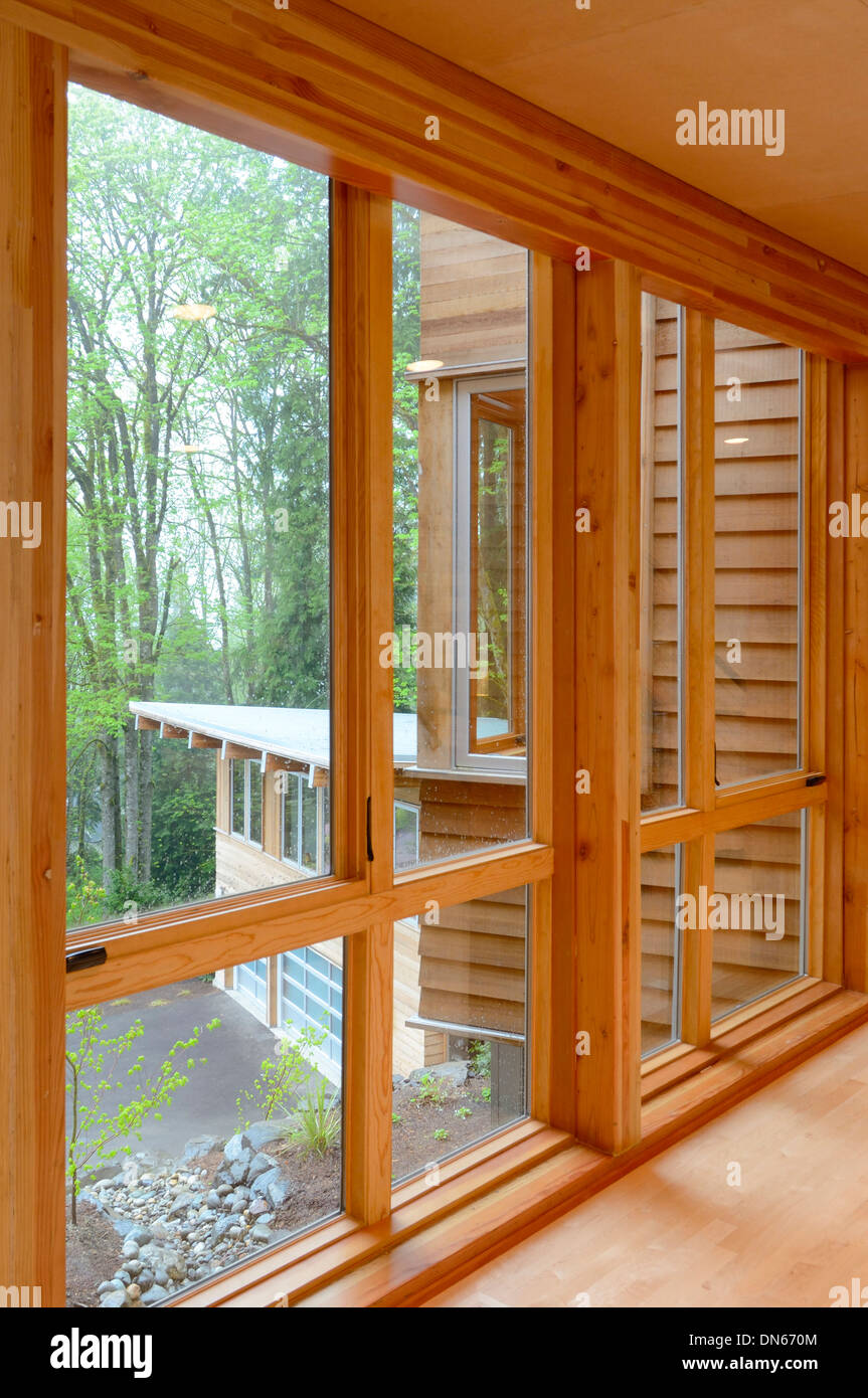 Glass windows in modern home - Stock Image