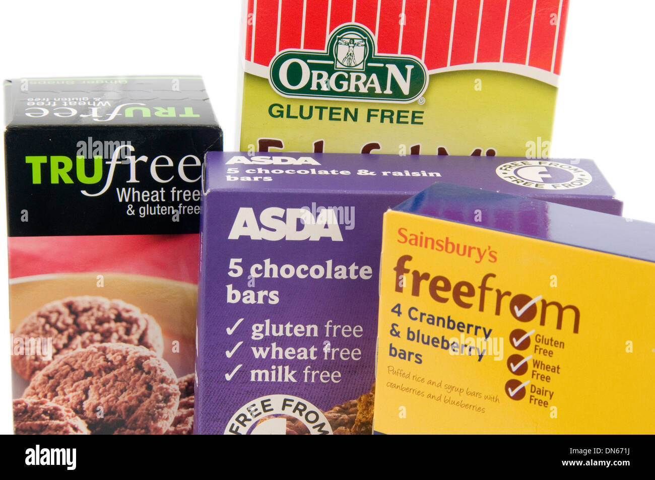 Selection Of Gluten Free Food From Uk Supermarkets Asda And