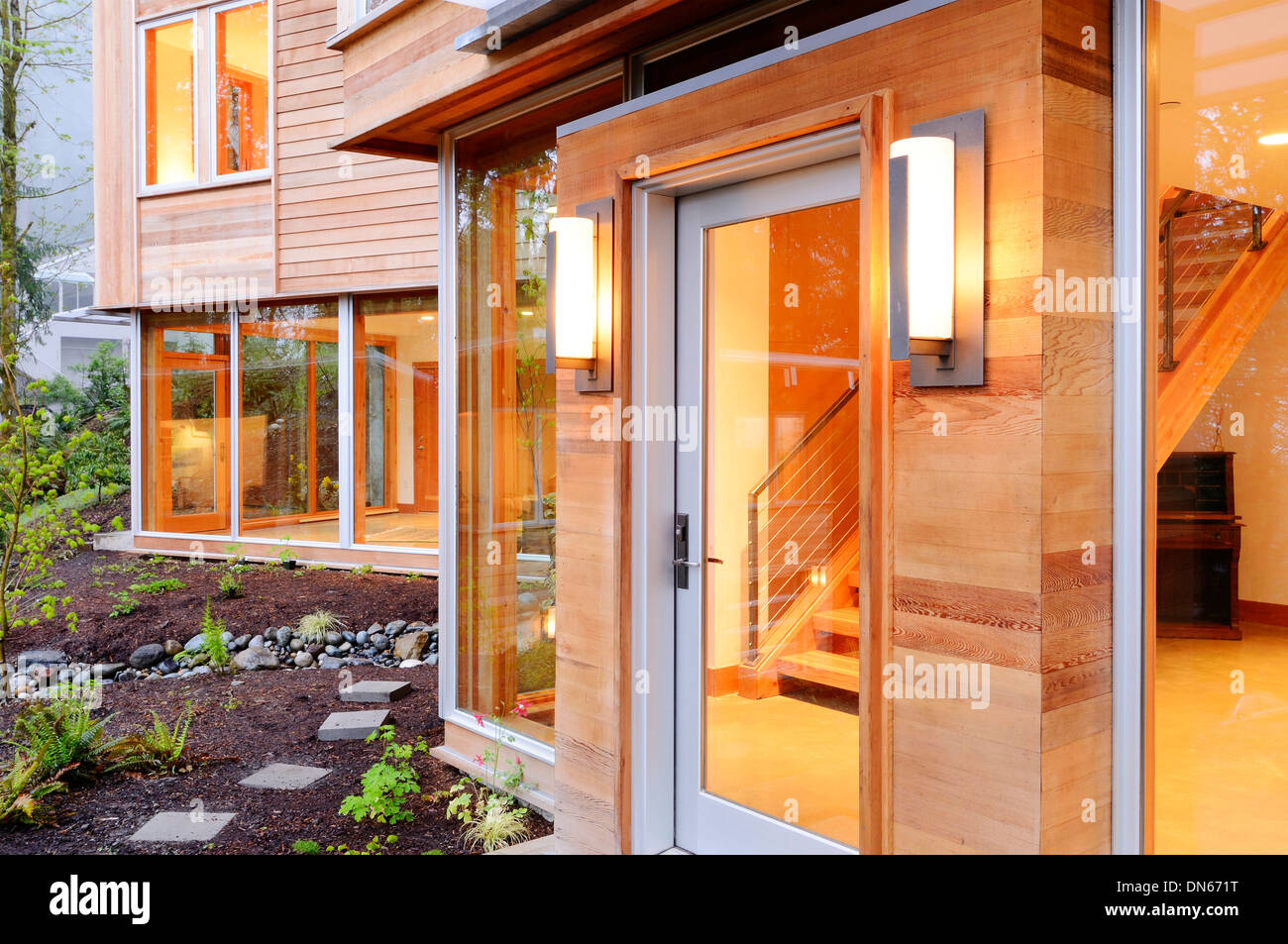 Glass windows and doors of modern house - Stock Image