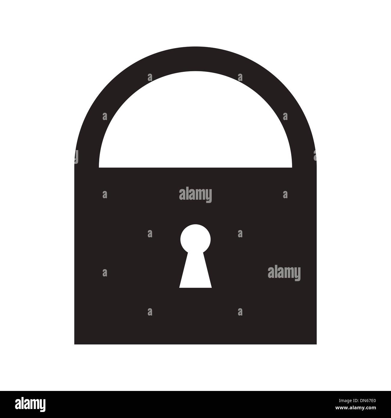 Lock symbol isolated on white background - Stock Image