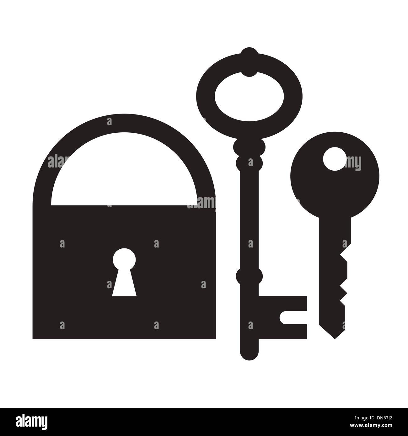 Padlock and keys isolated on white background - Stock Image