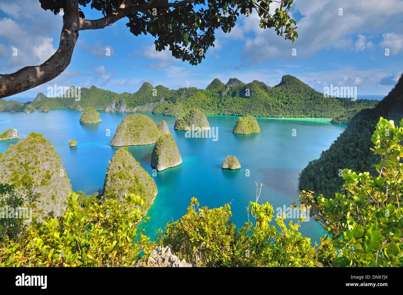Unique Karst islands, Wayag - Stock Image