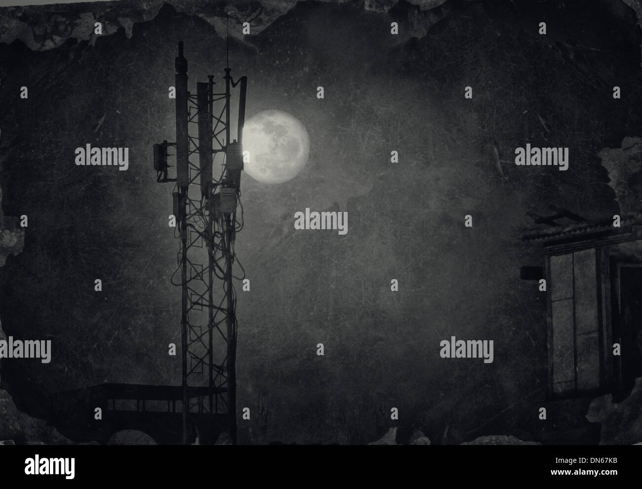 moon Egypt antenna dark night shadow window old texture roof full moon clouds aerial - Stock Image