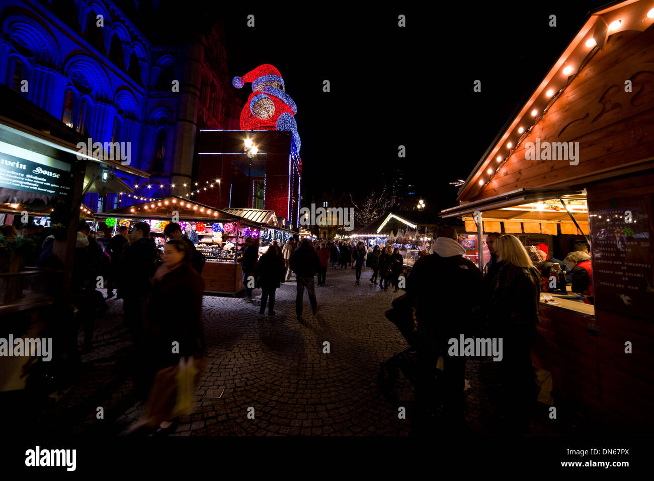 Manchester, Christmas, market, stall, 2013, night, European, German, Italian, winter, December, England, EU, commerce, business, - Stock Image