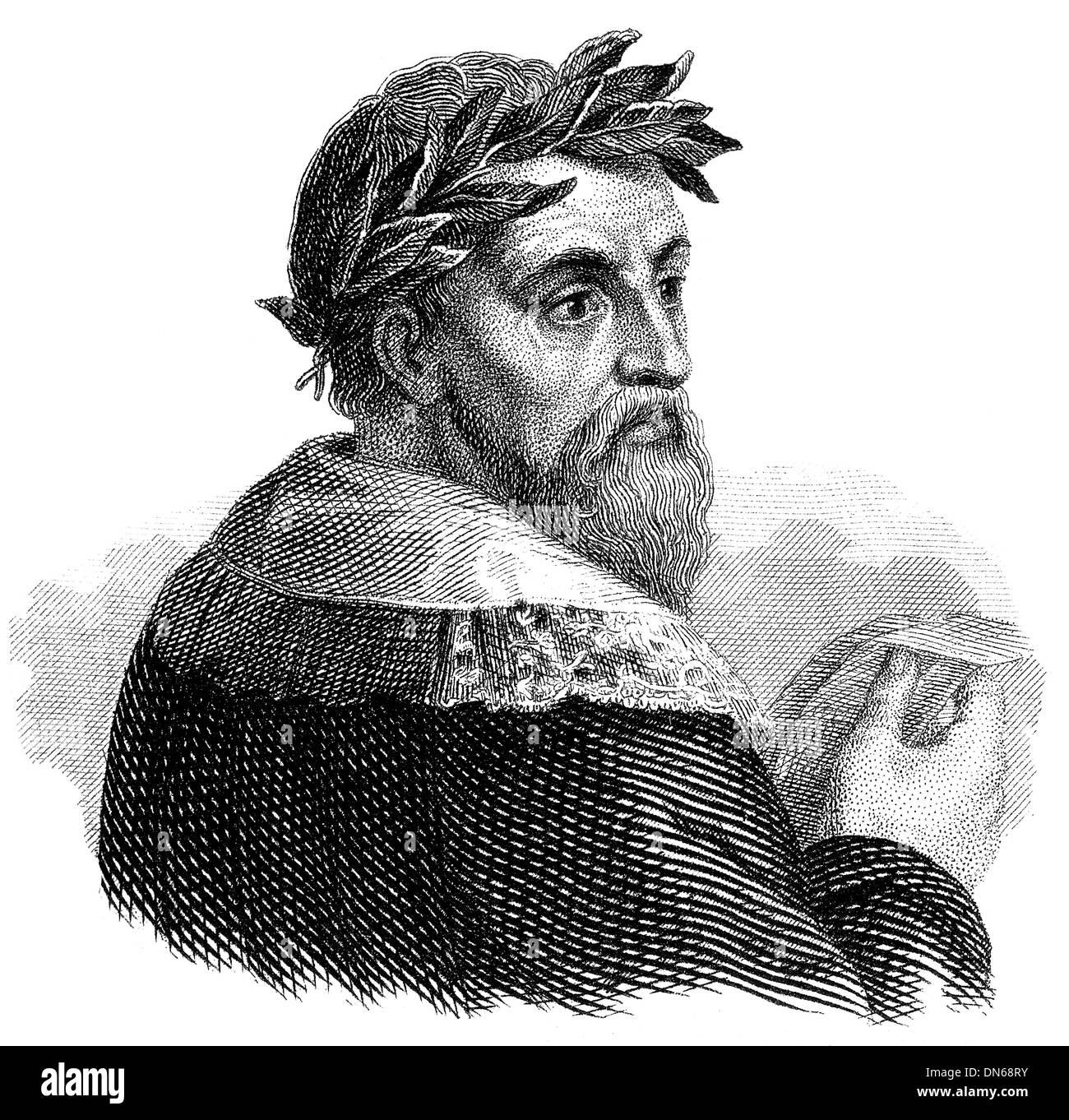 portrait of Ludovico Ariosto or Ariost, 1474 - 1533, an Italian humanist, author and soldier, - Stock Image